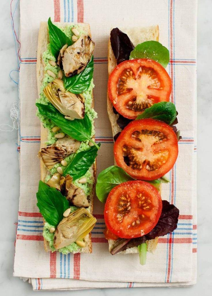 Vegan Tomato, Basil & Artichoke Picnic Sandwich - healthy vegan sandwich recipes for lunch that are easy for kids // vegan sandwich ideas // back to school work