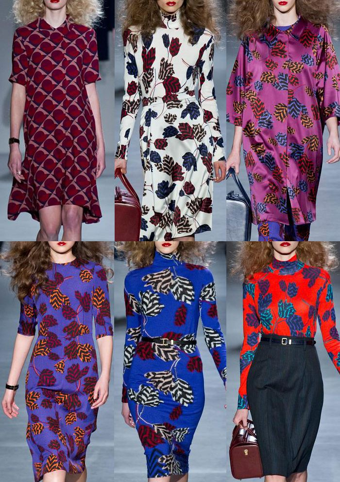 Marc By Marc Jacobs A/W 2013-  Pattern Within Florals – Large Scale Scattered Floral Layout – Colour Intensified Looks – Optical Plays – 60′s Pattern Plays