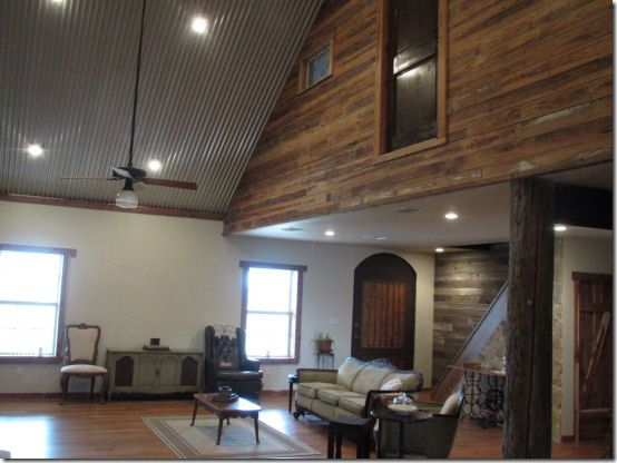 corrugated metal ceiling & wainscoting
