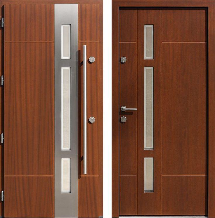 Drzwi wejściowe z aplikacjamii ze stali nierdzewnej inox wzór 457,1-457,11+ds1 orzech