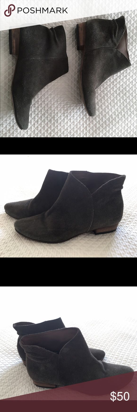 Joie booties Super cute suede booties. The distressing you see it's part of the original design. Very comfortable. Joie Shoes Ankle Boots & Booties