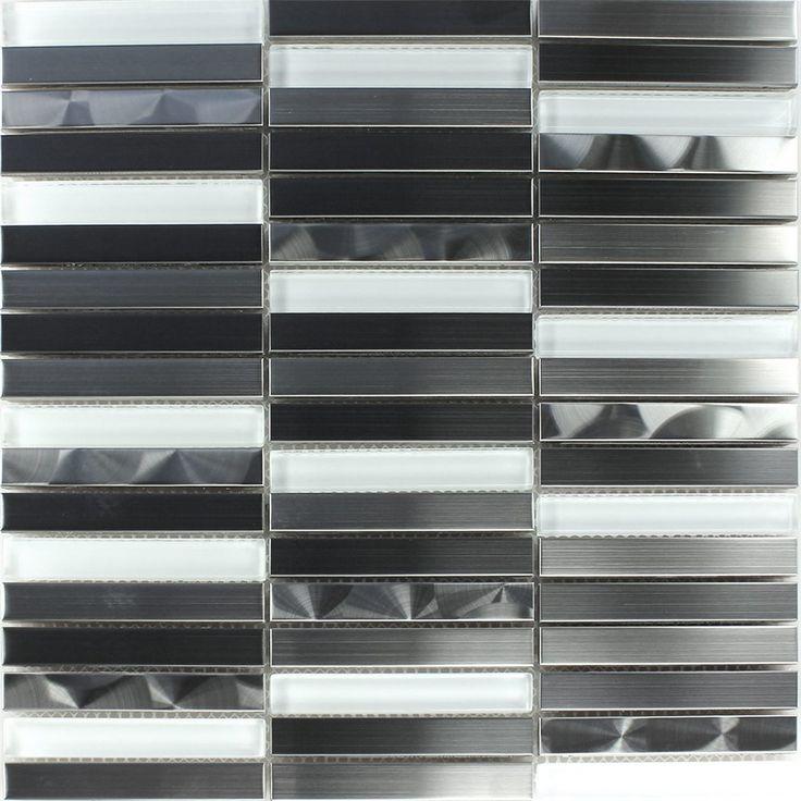 Best Edelstahl Glas Mosaikfliese Weiss Silber St bchen