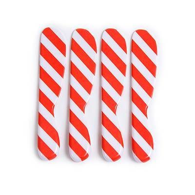 """<div><span style=""""font-family: Calibri; font-size: 100%;"""">Candy Stripe Spreader - Set of 4</span></div><div><span style=""""font-family: Calibri; font-size: 100%;"""">This set of four Candy Stripe melamine spreaders set reinvents a holiday staple with its bright, graphic designs. Can be used as cheese spreaders or butter spreaders. Constructed of lightweight high-grade melamine, these spreaders are shatterproof and have a s..."""