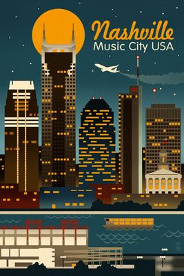 Retro Skyline - Nashville, Tennessee - Lantern Press Poster