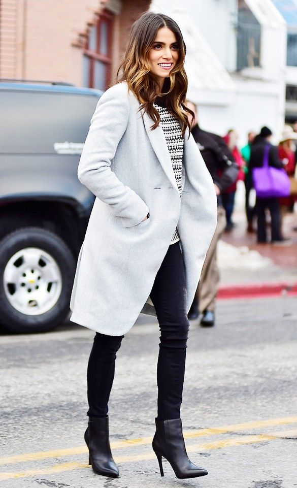Nikki Reed in a Laveer Vested Coat and high rise skinny jeans