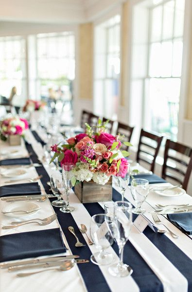 Preppy and nautical wedding reception decor - navy and white striped linens, paired with bright floral centerpieces displayed in wooden boxes {shoreshotz photography}