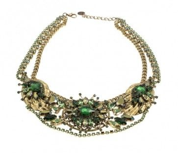 Handmade bronze metal plated necklace with Swarovski crystals and strasses, by Art Wear Dimitriadis