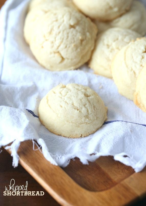 Whipped Shortbread.. light, velvety...yet buttery and delicious! And only 4 ingredients!