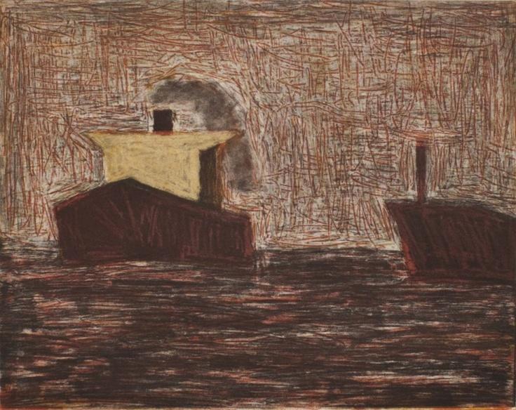Two Ships, Newcastle, 2007  Artist: Julian Twigg  Medium: Colour etching  Image size: 20 x 24.5 cm  Edition: 20