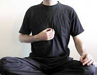 Heart Chakra MUDRA:    Sit cross-legged. Let the tips of your index finger and thumb touch. Put your left hand on your left knee and your right hand in front of the lower part of your breast bone (so a bit above the solar plexus).  Concentrate on the Heart chakra at the spine, level with the heart.  Chant the sound YAM.