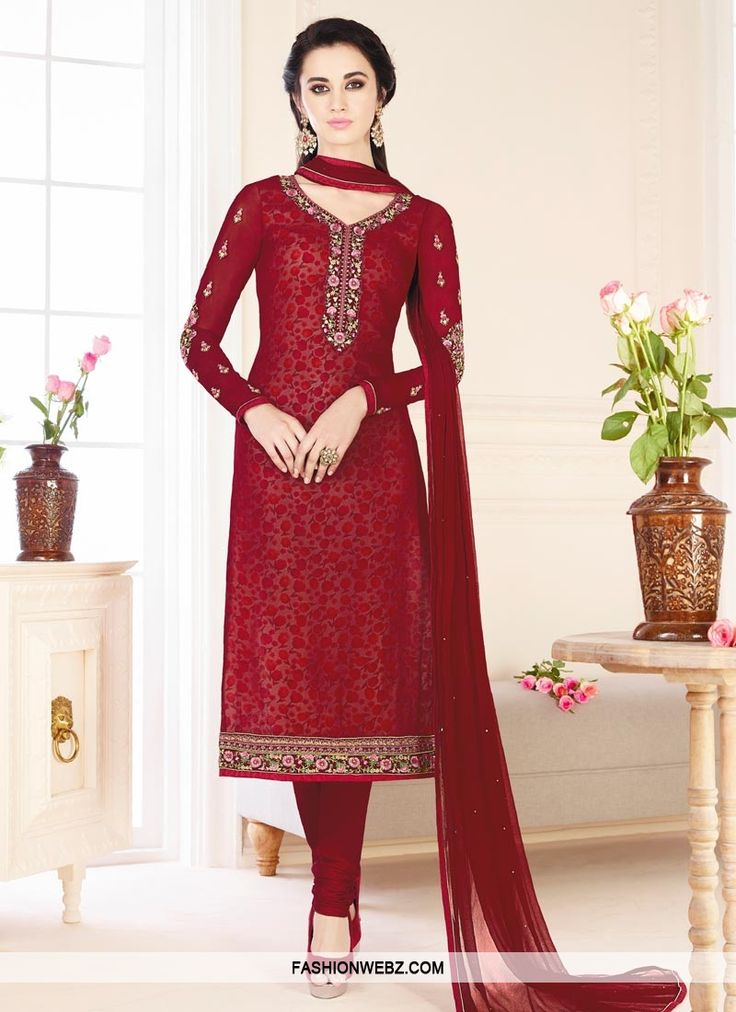Women #beauty is magnified tenfold in this #maroon faux #georgette #trendy #churidar #salwar #suit.