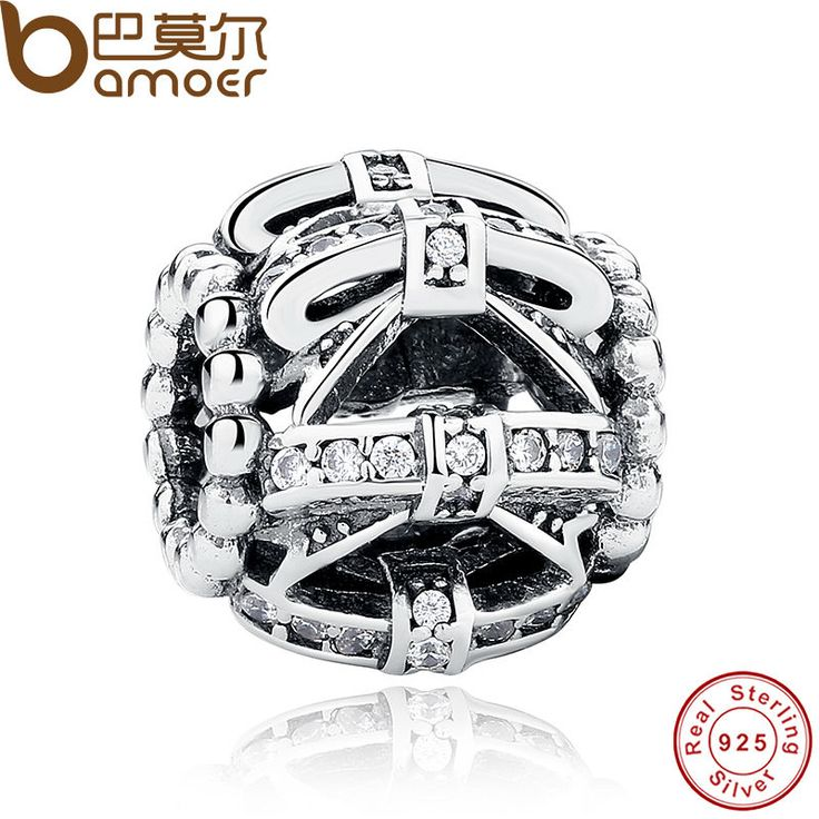 BAMOER Original 925 Sterling Silver Bow-knot Crystals Charm Fit  Bracelet Women DIY Jewelry Wedding Gift PAS250