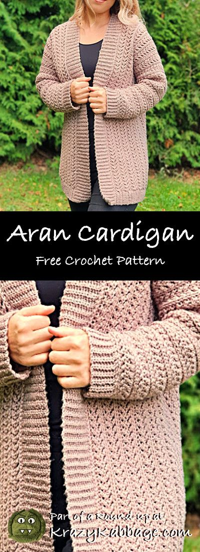 Cozy Cardigans Free Crochet Patterns – Krazy Kabbage #crochet #cardigan #aran #f…