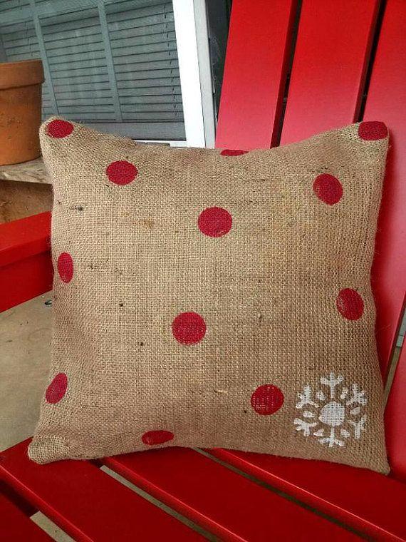 Burlap Christmas Pillow Red Polka Dots