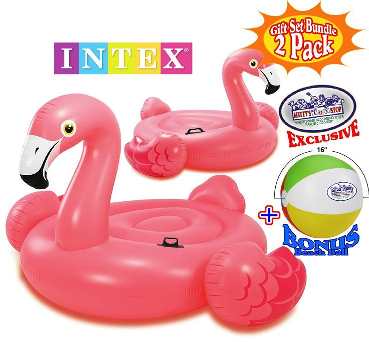 """Intex Mega Flamingo Inflatable Island (86""""x83""""x53.5"""") & Flamingo Inflatable Ride-On (56""""x54""""x38"""") Pool Floats Gift Set Family Bundle with Bonus """"Matty's Toy Stop"""" 16"""" Beach Ball - 2 Pack. Family Bundle Includes Mega Flamingo Inflatable Island, Swan Inflatable Ride-on & Bonus """"Matty's Toy Stop"""" 16"""" Beach Ball!. Mega Flamingo Inflatable Island - Intex Mega Flamingo brings all the fun of a safari and all the comfort of a lounger to your pool! This flamingo is perfect for riding, lounging in…"""