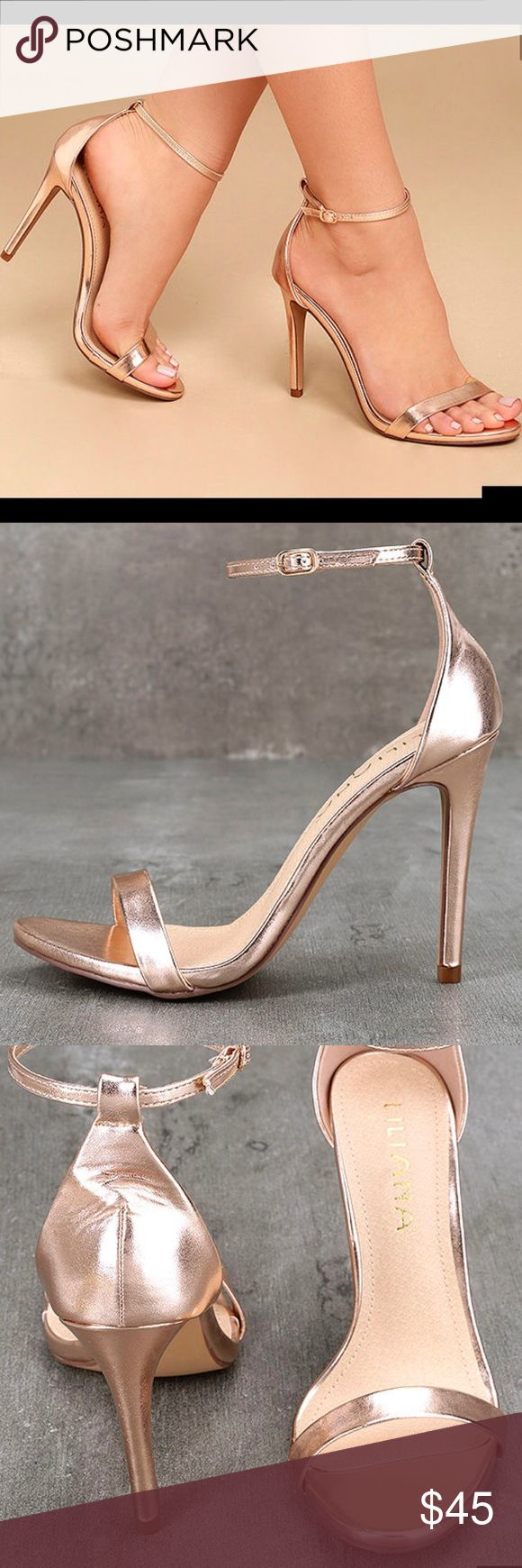 Rose Gold Strappy Heels Brand new in box. Unused. Rose Hold Strappy Heels. Size 6.  Description of Heels in picture. ❌Trades Lulu's Shoes Heels