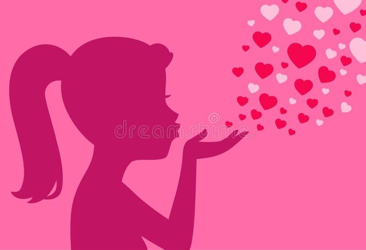 Cartoon of a Silhouetted Woman Blowing a Red Kiss