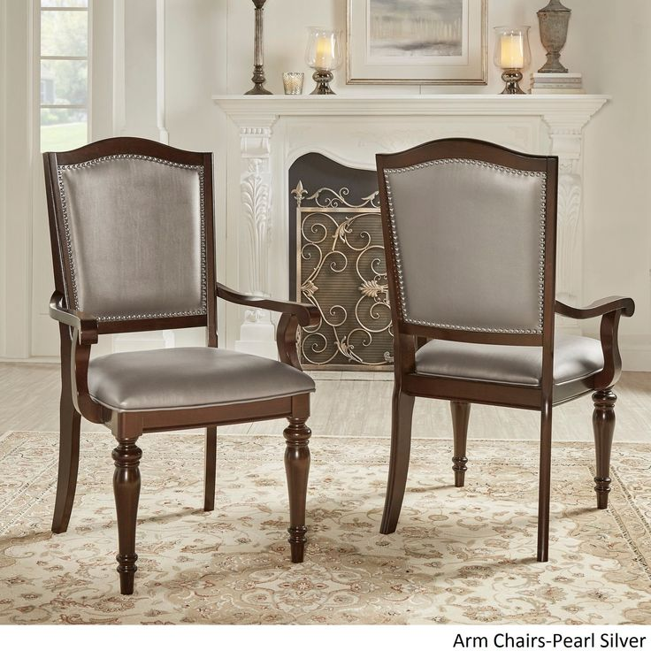 Tribecca Home LaSalle Espresso Nail Head Accent Transitional Dining Chairs