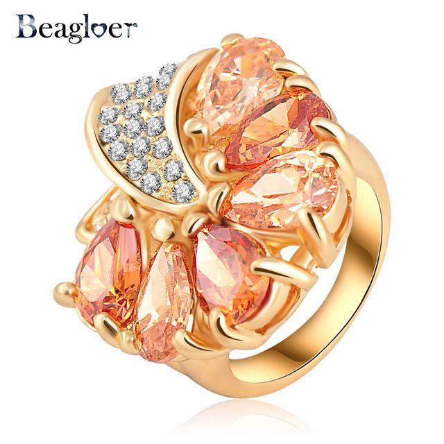 Beagloer Новый Горячий Продажа Женщины Золото Покрытие Loved Цветочные Обручальные Кольца С Австрийскими Кристаллами Ювелирной Моды Ri-HQ0219