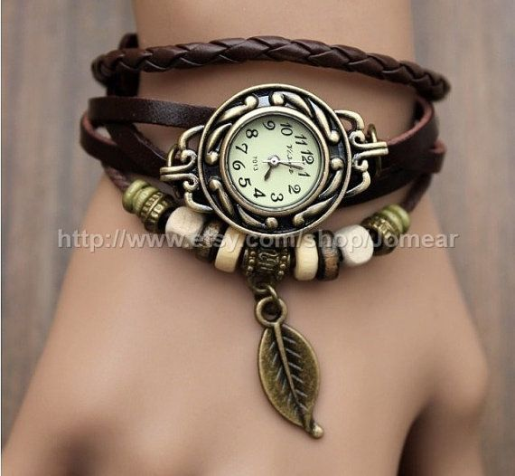 Handmade Vintage Style Leather Band Watches Woman Girl Lady Quartz Wrist Watch Dark Brown on Etsy, $11.26 AUD