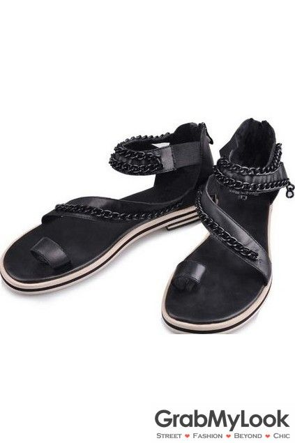 GrabMyLook Thumb Metal Chain Black Sling Back Gladiator Roman Men Sandals Flip Flops Flats