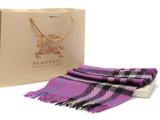 burberry outlet store online shopping hf1z  Burberry Cashmere Purple Nova Check Scarf--$2699!