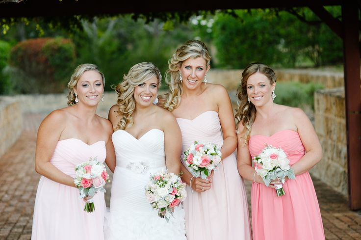 Loving the soft colours in the Bridal party by Total Brides hair & makeup