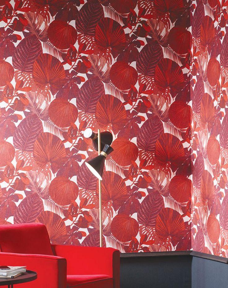€73,90 Precio por rollo (por m2 €13,86), Papel pintado glamuroso, Material base: Papel pintado TNT, Superficie: Liso, Aspecto: Mate, Diseño: Hojas, Color base: Rosaweiss, Color del patrón: Rojo parduzco, Rojo coral, Rojo negruzco, Características: Buena resistencia a la luz, Difícilmente inflamable, Fácil de desprender en seco, Encolar la pared, Resistente al lavado