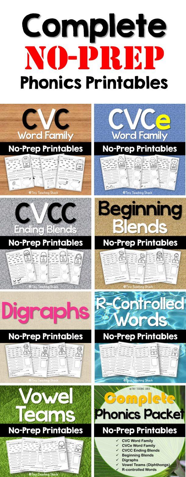NO-PREP PHONICS PACKETS:  CVC Word Family CVCe Long Vowels CVCC Ending Blends Beginning Blends Digraphs R-Controlled Words Vowel Teams