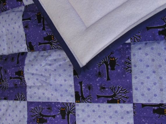 Halloween Owl Quilt Purple Owl Nursery Baby by UpcycleQuiltArtist