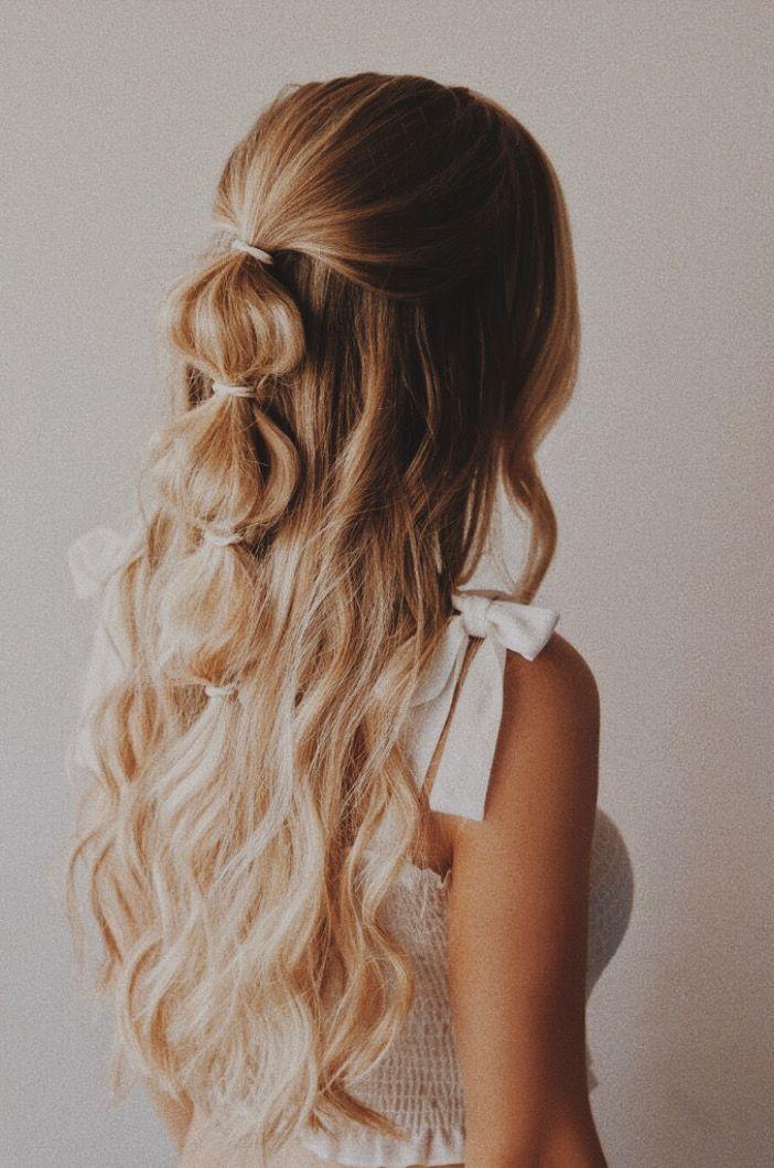 Half Up Half Down Hairstyle Boho Hair Easy Hair Style Bauble Hair Bubble Hair Braids Long Hair Style Hair Styles Long Hair Styles Hairstyle