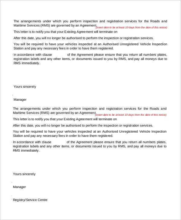 sample termination letter examples word pdf know why all rent - contract termination letter
