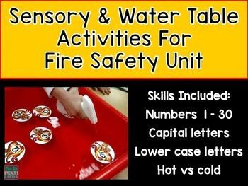 Looking for a FUN way to practice letter, numbers and concepts during your fire safety unit? These cards are FUN, easy and low prep!! My student's favorite was using the cards in the water table!Included fire cards:*Upper case letters*Lower case letters*Numbers 1 through 30*Hot versus Cold picture sort with labels for sorting taskOther items you may be interested in:Fire Safety Interactive BooksFire Safety special ed unitNumber MatsThank you for visiting my store!