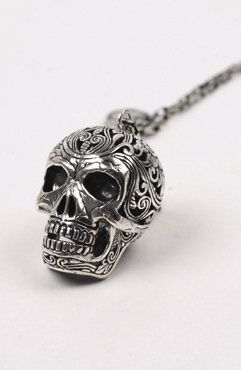 ☆ Mexican Skull Filigree Sterling Silver Necklace « By Nick Von K» :¦: Shop: GoodAsGold ☆