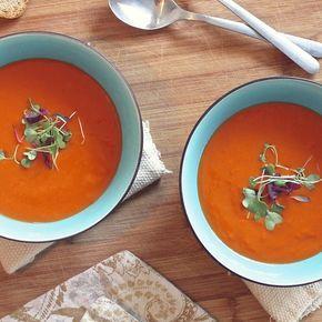 Geroosterde paprika tomatensoep - Amber Albarda