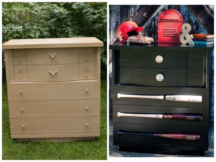 Baseball dresser - my top ten favorite furniture makeovers in 2014 - FunCycled www.funcycled.com: