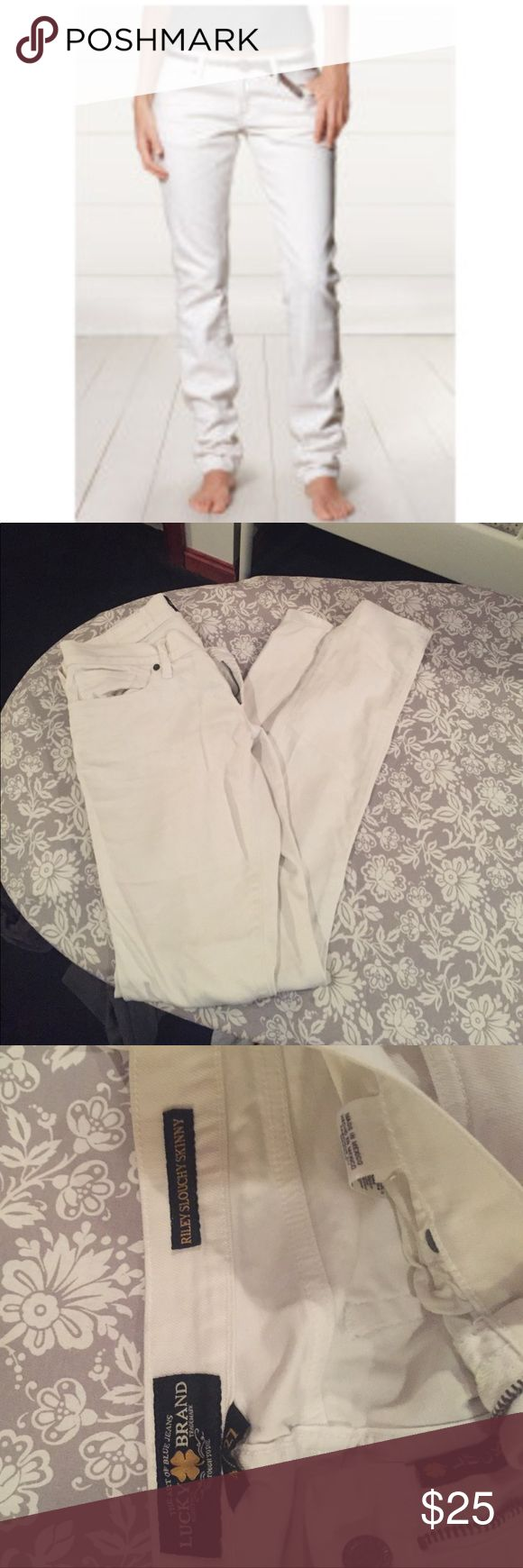 1 day sale! Lucky Brand white jeans 🍀 EUC Lucky Brand Riley Slouchy Skinny white jeans, the best jeans for summer! 🍀 Lucky Brand Jeans Skinny