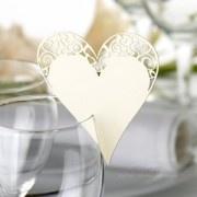Tischkarten Hochzeit Herz mit Spitze creme  - Platzkarte...€0,55 each