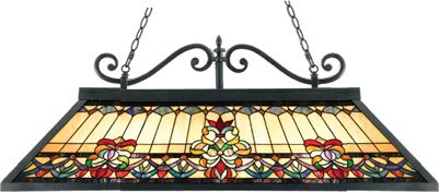 Quoizel European Style Island Light TFBF348VB from the Belle Fleur Collection  This timeless fleur-de-lis motif in luscious jewel tones helps make your home a showplace to be proud of. Features a handcrafted art glass shade and an authentic Vintage Bronze patina on the body. Such a pretty Art Nouveau design just might inspire you to take that trip to Paris.  Call Brand Lighting Sales 800-585-1285 to ask for your best price!
