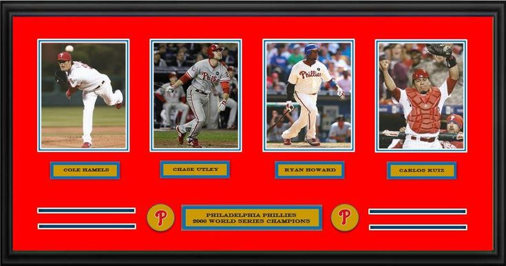 """Philadelphia Phillies 2008 World Series Champions 42"""" x 22"""" Framed and Matted 4-Player Panorama (Cole Hamels, Chase Utley, Ryan Howard, Carlos Ruiz)"""
