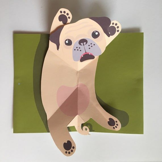 Pop Up 3d Pug Greeting Card Popup Dog Puppy Etsy Puppies Puppy Safe Little Dogs