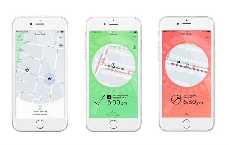 Ford Thinks a Simple App Can Cure the Headache of Parking | GoPark is a new app from Ford, designed by Ustwo that tells drivers whether or not they can park in a spot. | Credit: Ustwo/Ford | From Wired.com