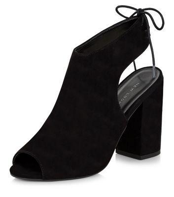 Chaussures peep toe à talons bloc noires et bride arrière avec nœud