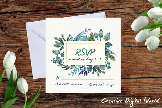 RSVP Wedding Card Wreath Blue Green Floral Flowers Frame  Printable Digital File DIY Template Response Card Reply  Instant Download