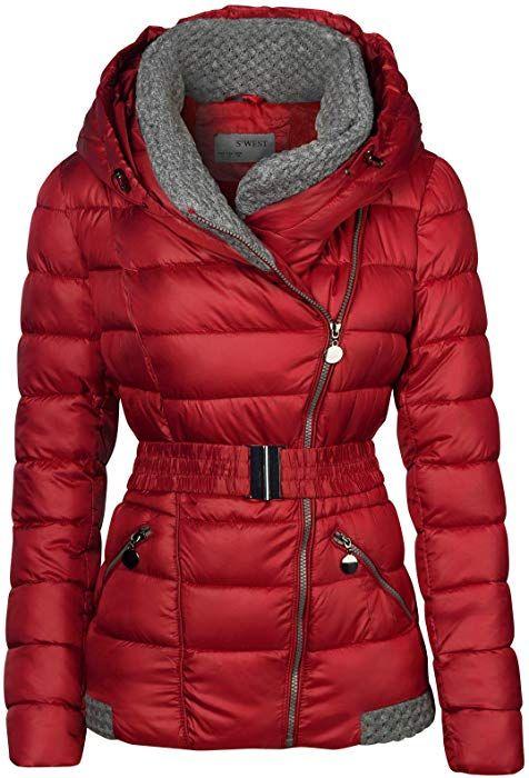 buy popular 3cddf 0b799 Damen Winter Jacke Gestrickte Kragen GROßE Kapuze KURZ ...