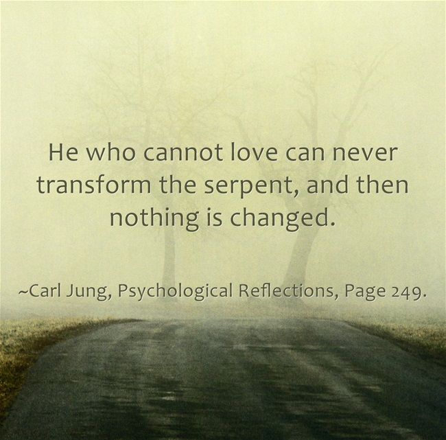 He who cannot love can never transform the serpent, and then nothing is changed.