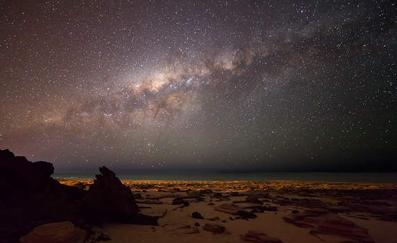 Milky Way Setting over Cable Beach Bar in Broome, Western Australia.