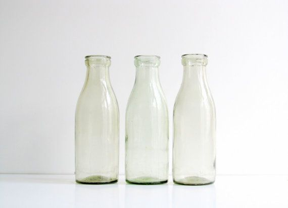Soviet Vintage Milk Bottle Set of 3, Vintage Glass Bottles, Soviet Vase, Retro Home Decor, from USSR era 1960s by LittleRetronome, $24.00