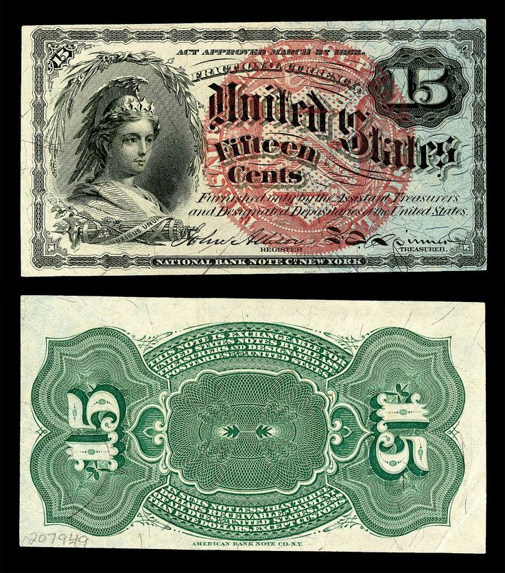 Bust of Columbia National Bank Note 15 cent