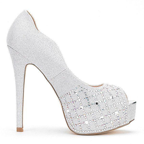 0a155c5a25e36 Amazon.com | Dream Pairs Women's Swan-25 Shine Silver High Heel ...